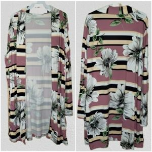 Plus Long Floral Striped Kimono Duster